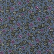 Moda - Summer on The Pond by Holly Taylor - 5721 - Lilypad Floral on Blue  - 6721 12 - Cotton Fabric